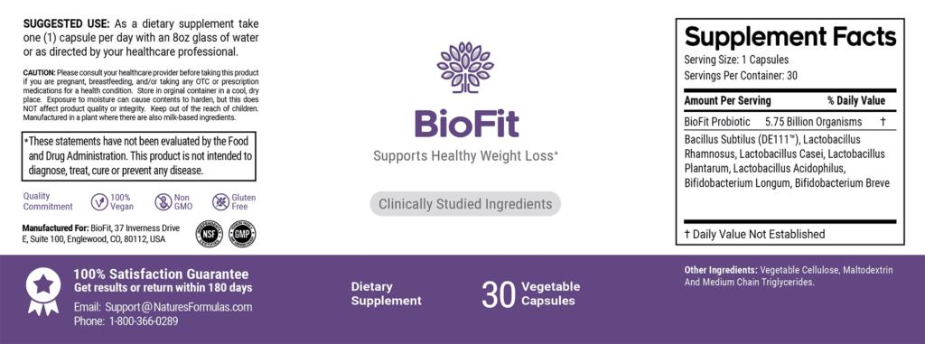 Biofit Probiotic Ingredients Package